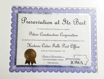 Preservation Iowa 2016 award